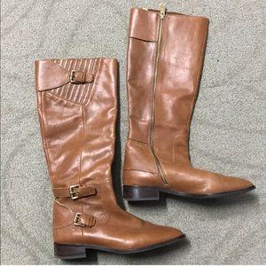 Michael Kors tan leather flat boots GUC!